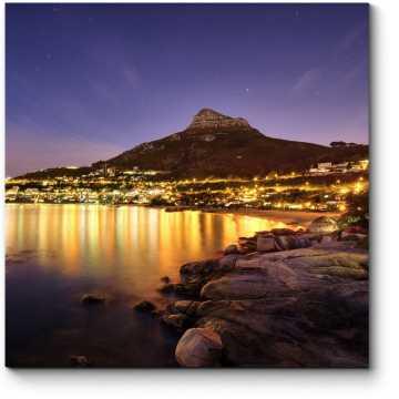 Модульная картина Горящие огни ночного Кейптауна
