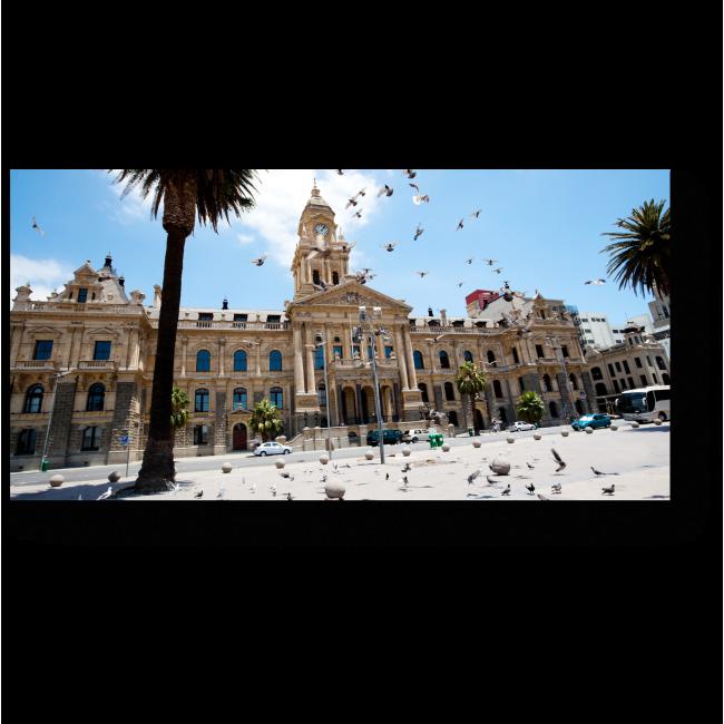 Летящие голуби над площадью Кейптауна
