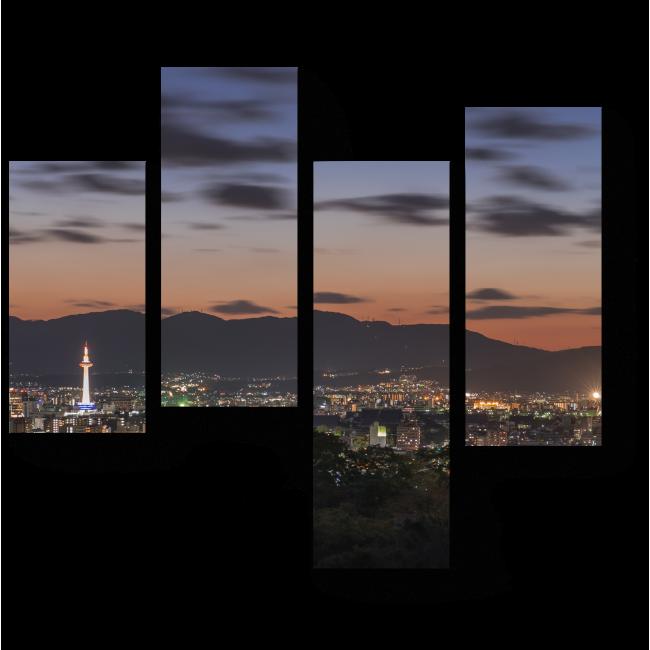 Модульная картина Неповторимая панорама ночного Киото