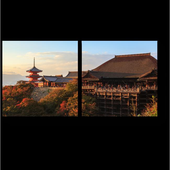 Модульная картина Киёмидзу-дэра в лучах заходящего солнца, Киото