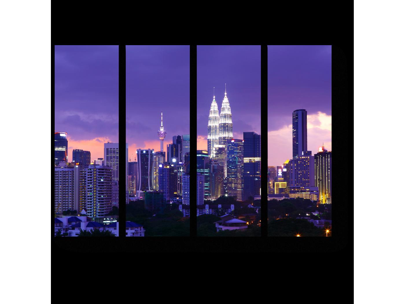 Модульная картина Сияющий в ночи Куала-Лумпур (60x45) фото