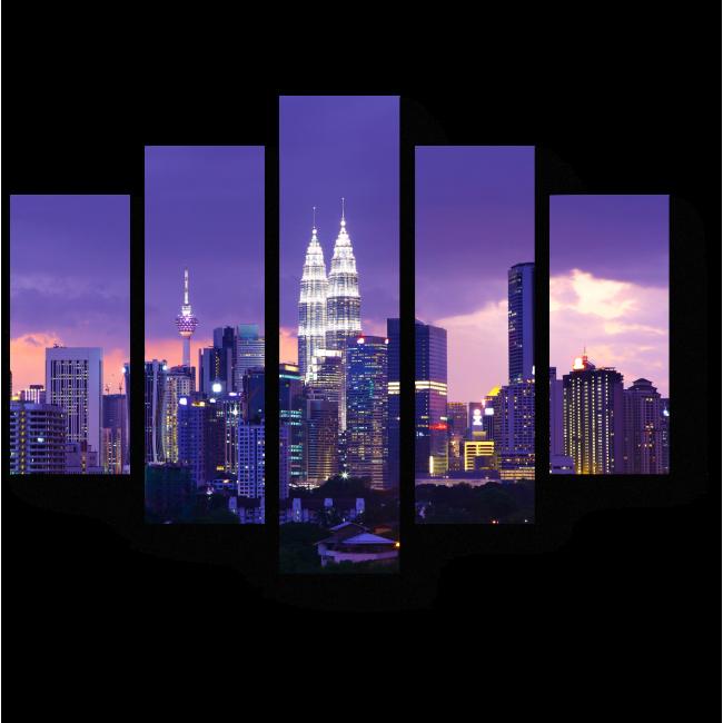Модульная картина Сияющий в ночи Куала-Лумпур