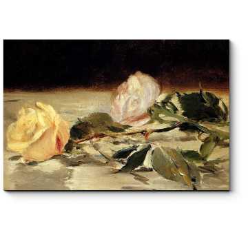 Модульная картина Две розы на скатерти