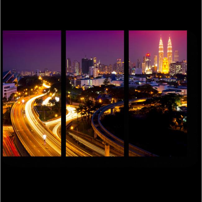 Модульная картина Сияние ночного Куала-Лумпур