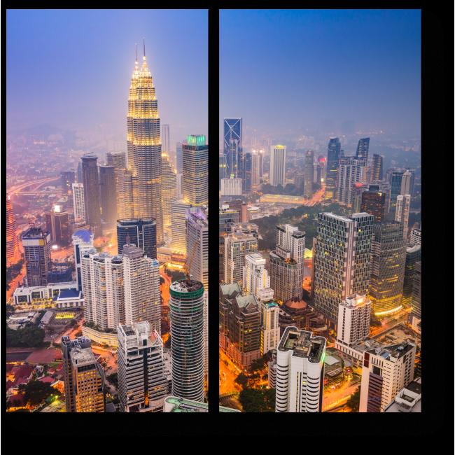 Модульная картина Огни туманного Куала-Лумпур