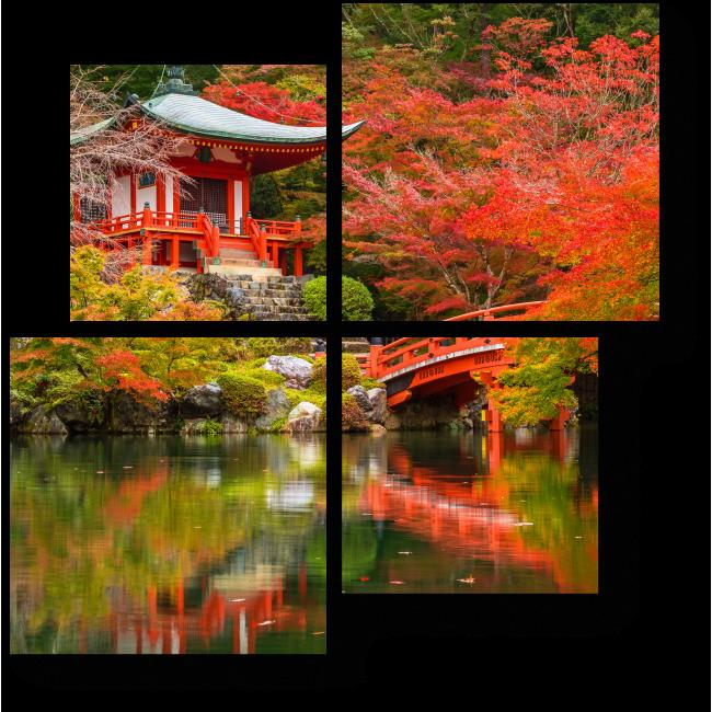 Модульная картина Гармония линий и цвета, Киото
