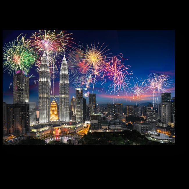Модульная картина Фееричный фейерверк над Куала-Лумпур