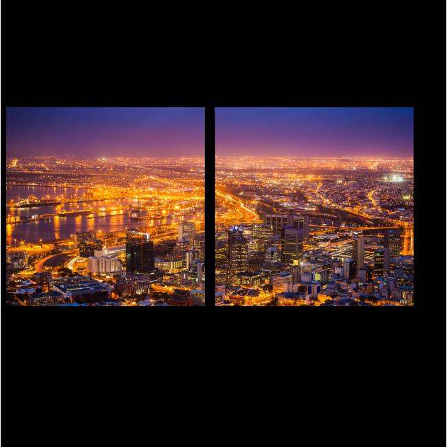 Модульная картина Ночные огни Кейптауна