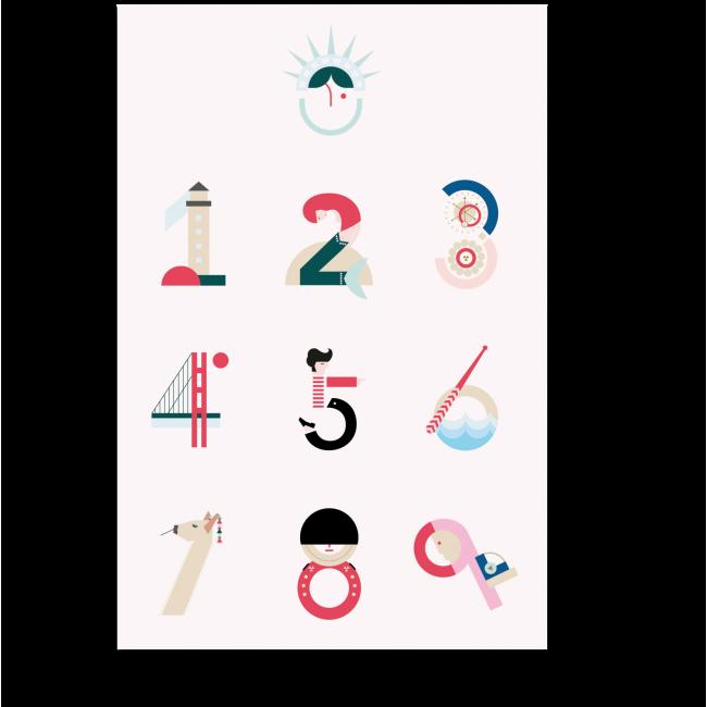 Модульная картина Креативные цифры