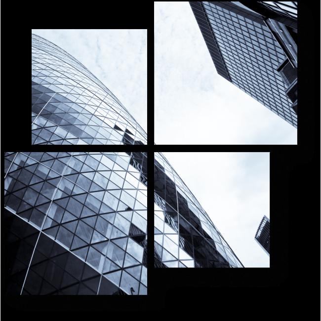 Модульная картина Серое небо Лондона в зеркале небоскреба