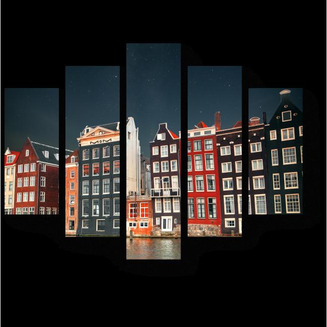 Модульная картина Амстердам в свете звезд