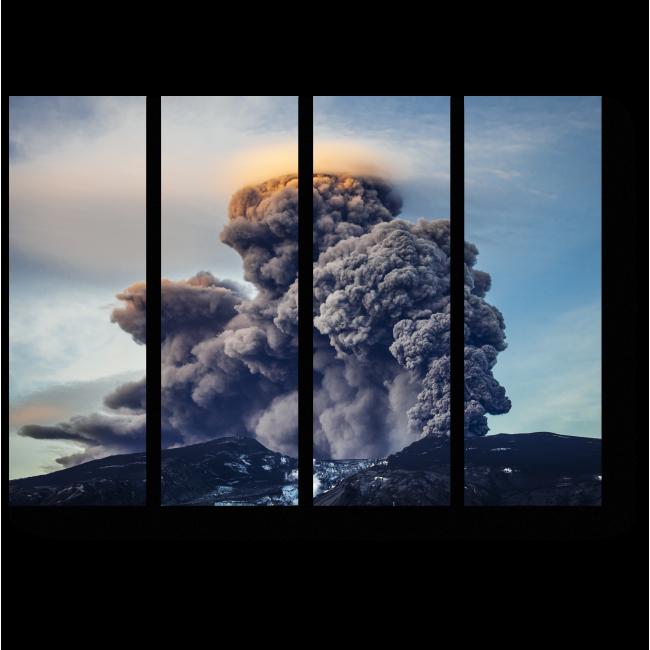 Модульная картина Извержение вулкана горы Онтаке