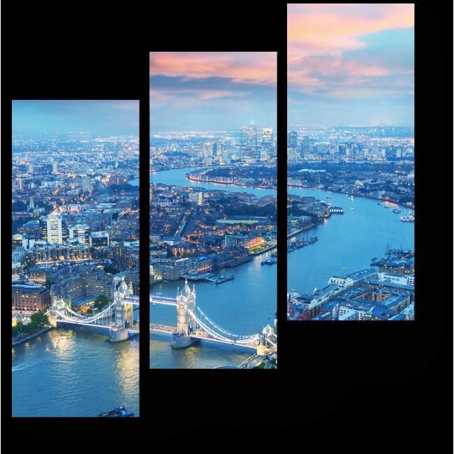 Модульная картина Пролетая над ночным Лондоном
