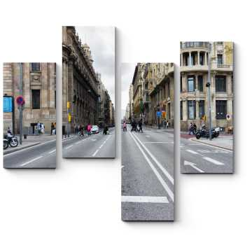 Пустая дорога в центре Барселоны