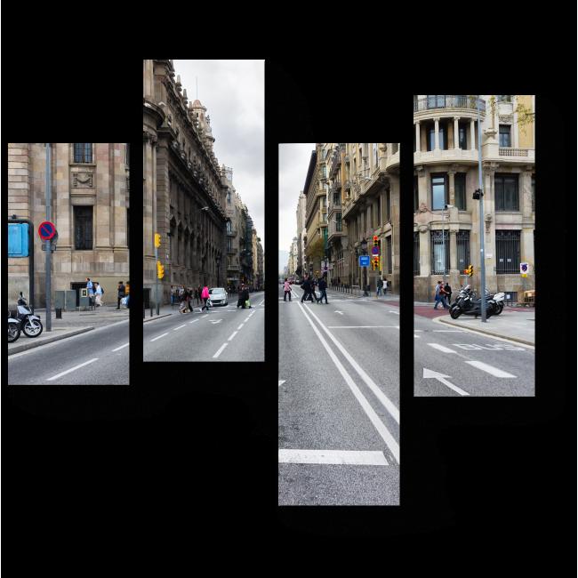 Модульная картина Пустая дорога в центре Барселоны