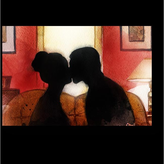 Модульная картина Влюбленные целуются