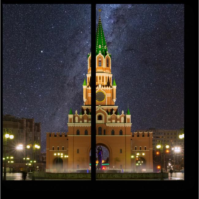 Модульная картина Ночная Благовещенская башня