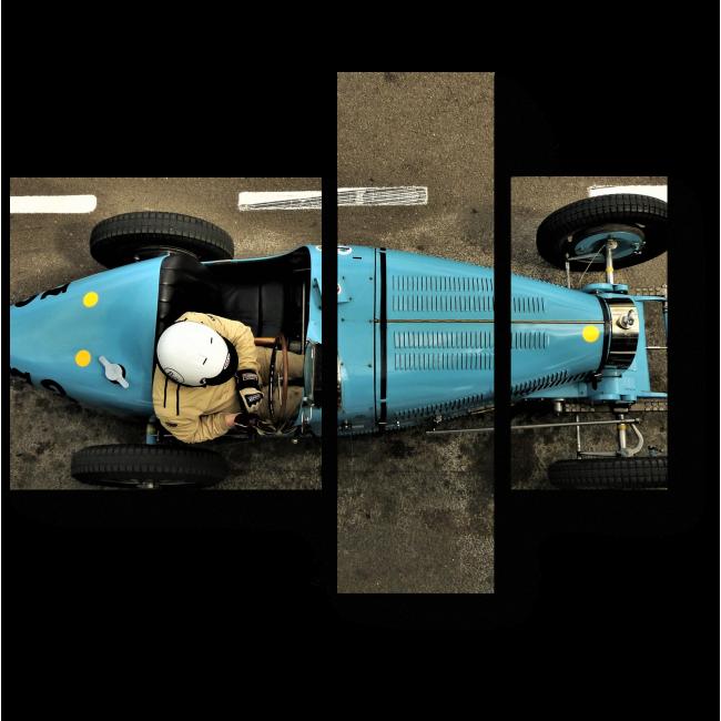 Модульная картина Гонки в стиле ретро