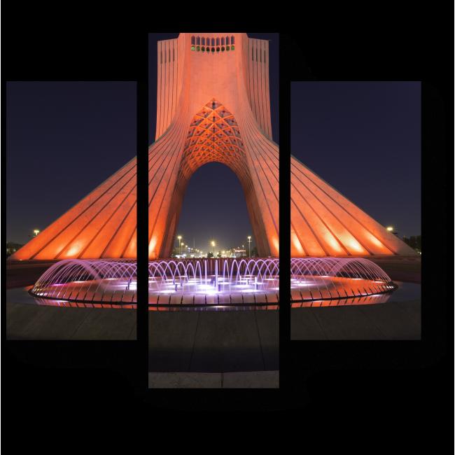 Модульная картина Ночной вид на башню свободы в Тегеране
