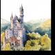 Нойшванштайн замок Хоэншвангау акварелью