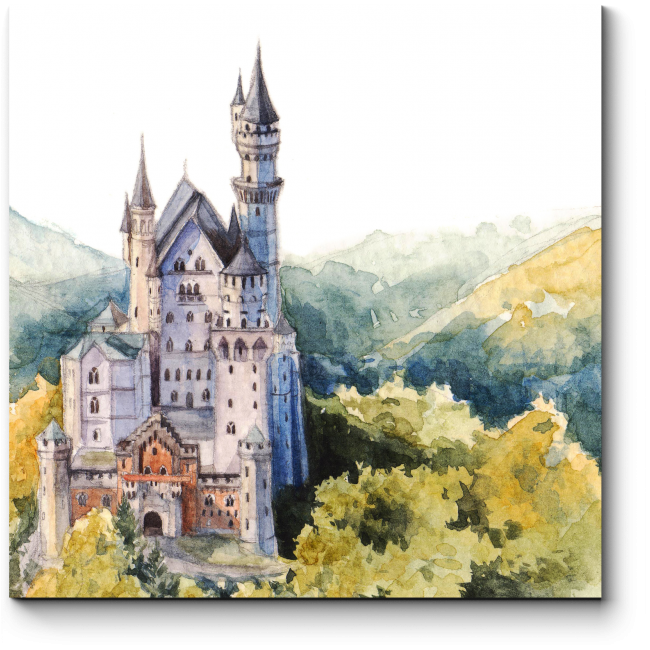 Модульная картина Нойшванштайн замок Хоэншвангау акварелью
