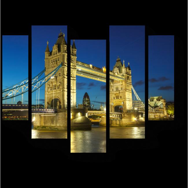 Модульная картина Мост через ночь, Лондон