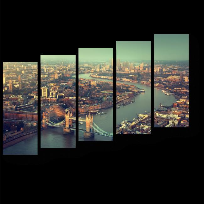Модульная картина Величественная Темза с высоты птичьего полета, Лондон