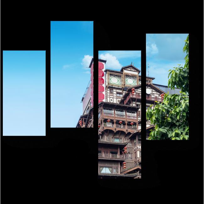 Модульная картина  Классическая архитектура Китая
