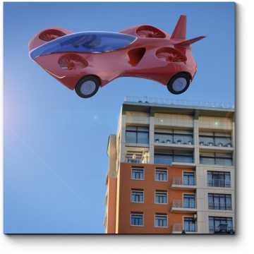 Модульная картина Летящий скоростной автомобиль будущего