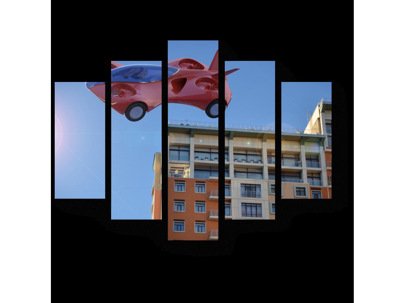 Модульная картина Летящий скоростной автомобиль будущего (75x60) фото