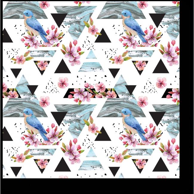 Модульная картина Птицы, цветы и треугольники