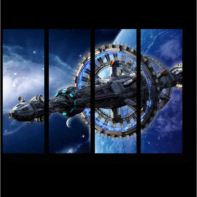 Модульная картина Фантастический космический корабль