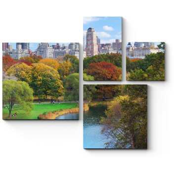 Модульная картина Осеннее озеро в Центральном Парке, Нью-Йорк