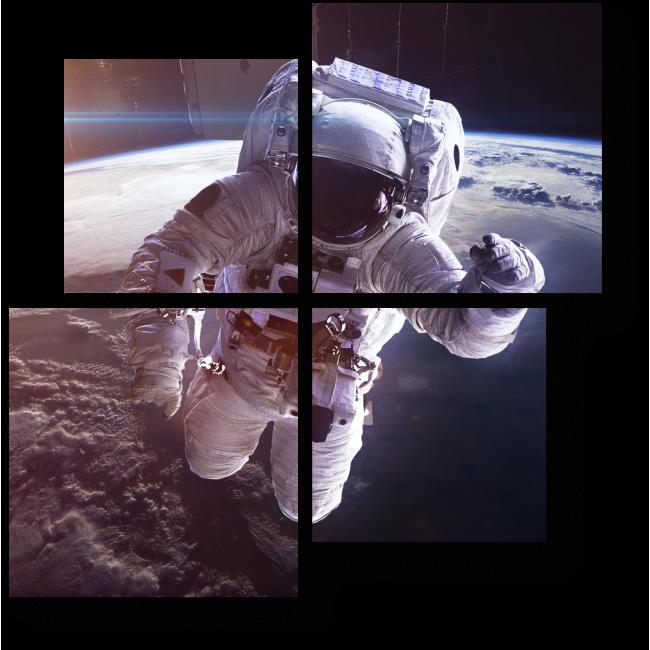 Модульная картина Космонавт в невесомости