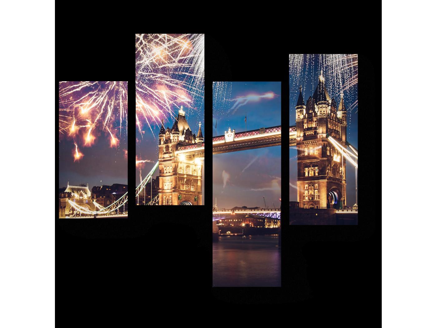 Модульная картина С Новым годом, Лондон (64x60) фото