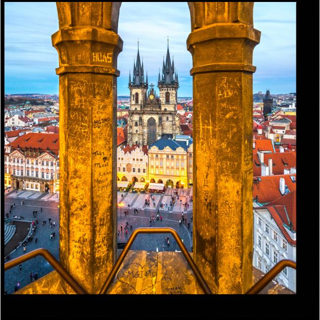 Модульная картина Необычный вид на Прагу