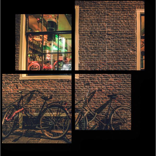 Модульная картина Велосипеды у кирпичной стены амстердамского паба