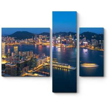 Модульная картина Сияющий ночными огнями Гонконг