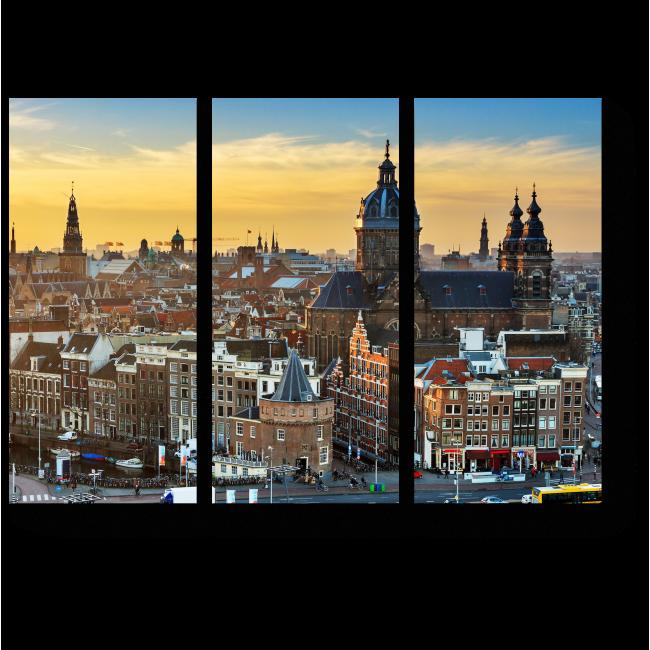 Модульная картина Амстердам с высоты птичьего полте