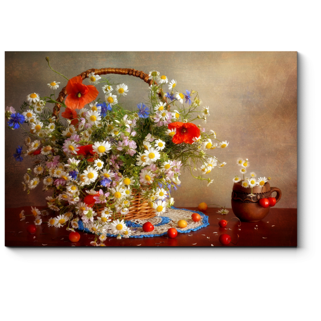 Модульная картина Корзина полевых цветов