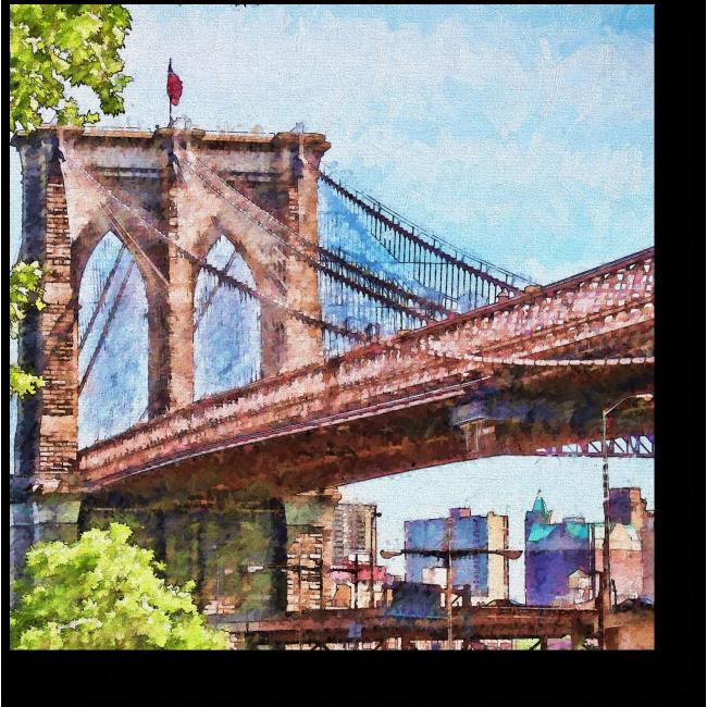 Модульная картина Бруклинский мост глазами влюбленного художника, Нью-Йорк