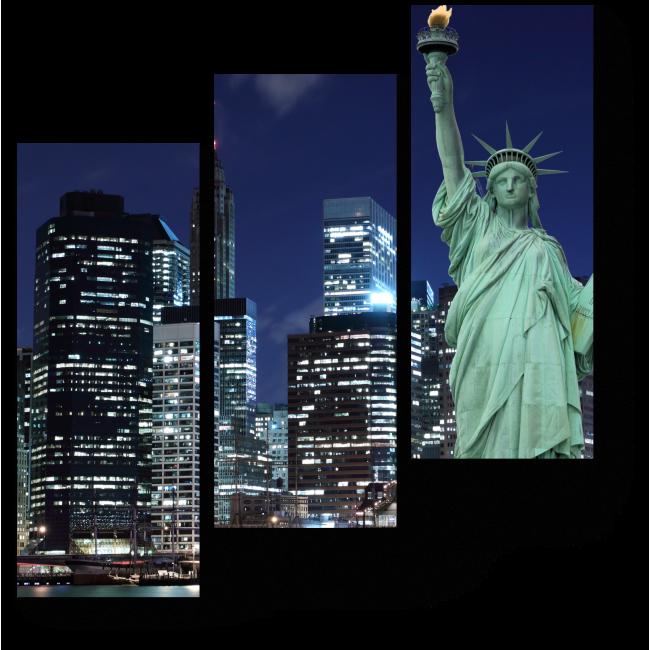 Модульная картина Статуя свободы в свете огней Манхэттена, Нью-йорк