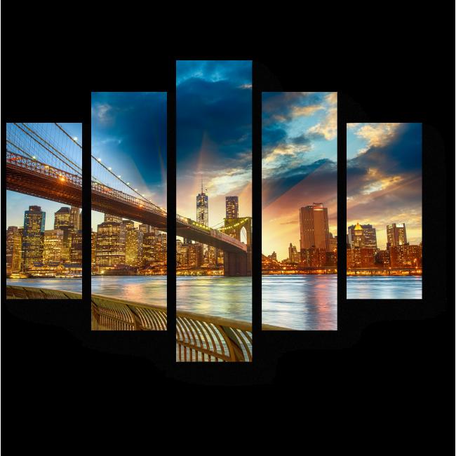 Модульная картина Свет Манхэттена, Нью-Йорк