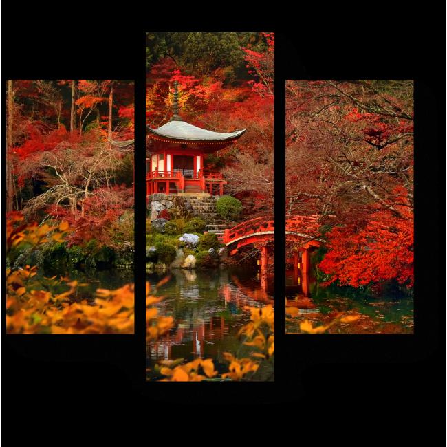 Модульная картина Красная осень в Киото