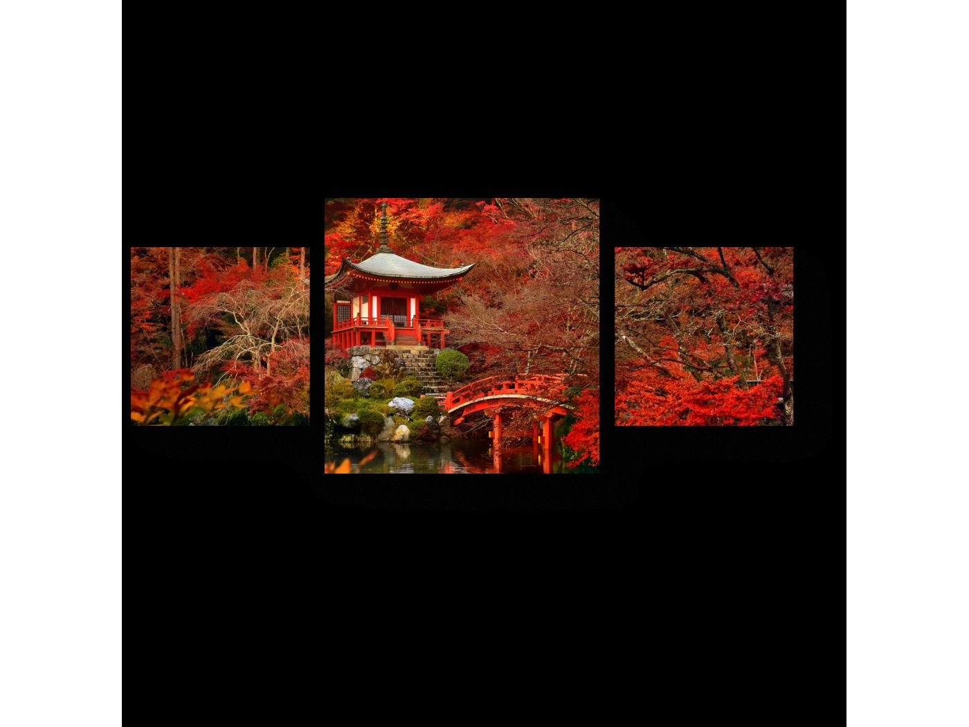 Модульная картина Красная осень в Киото (70x30) фото