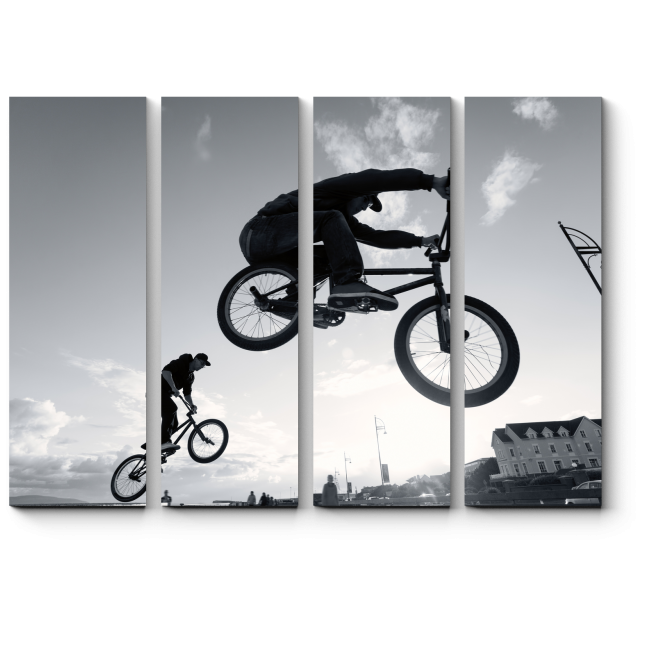 Модульная картина Выполняет трюки BMX