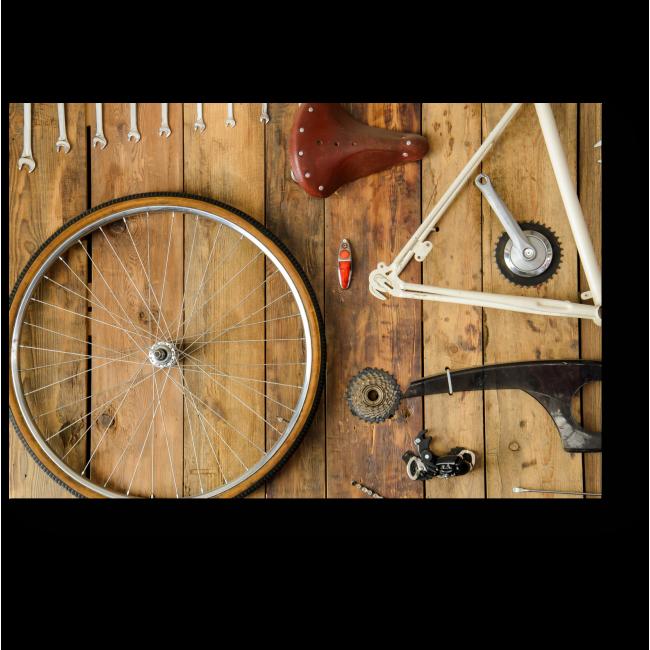 Модульная картина Разобранный велосипед