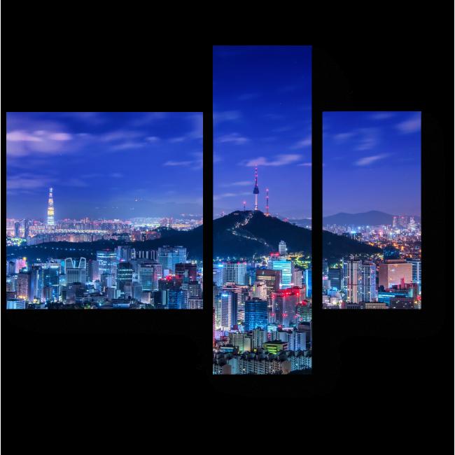 Модульная картина Сияющий Ночной Сеул