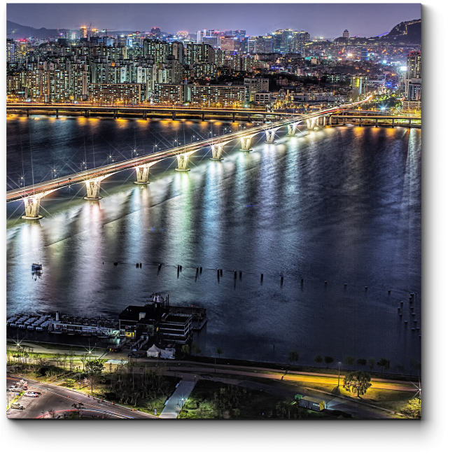 Модульная картина Мост через ночь, Сеул