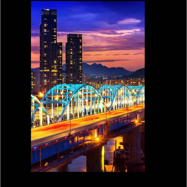 Модульная картина Волшебные краски ночи, Сеул